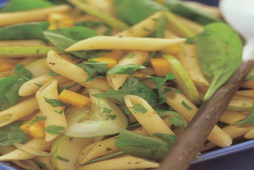 spinach-pear-feta-pasta-salad